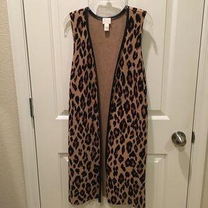Leopard Print Duster Vest